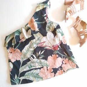 Ann Taylor• tropical print ruffle one shoulder top